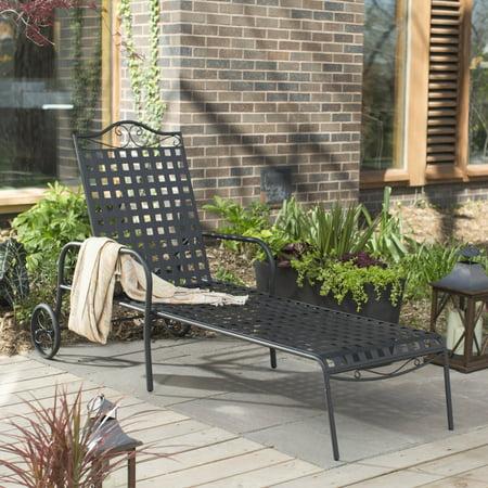 Bunny Wrought Iron - Woodard Capri Wrought Iron Multi-Position Single Outdoor Chaise Lounge