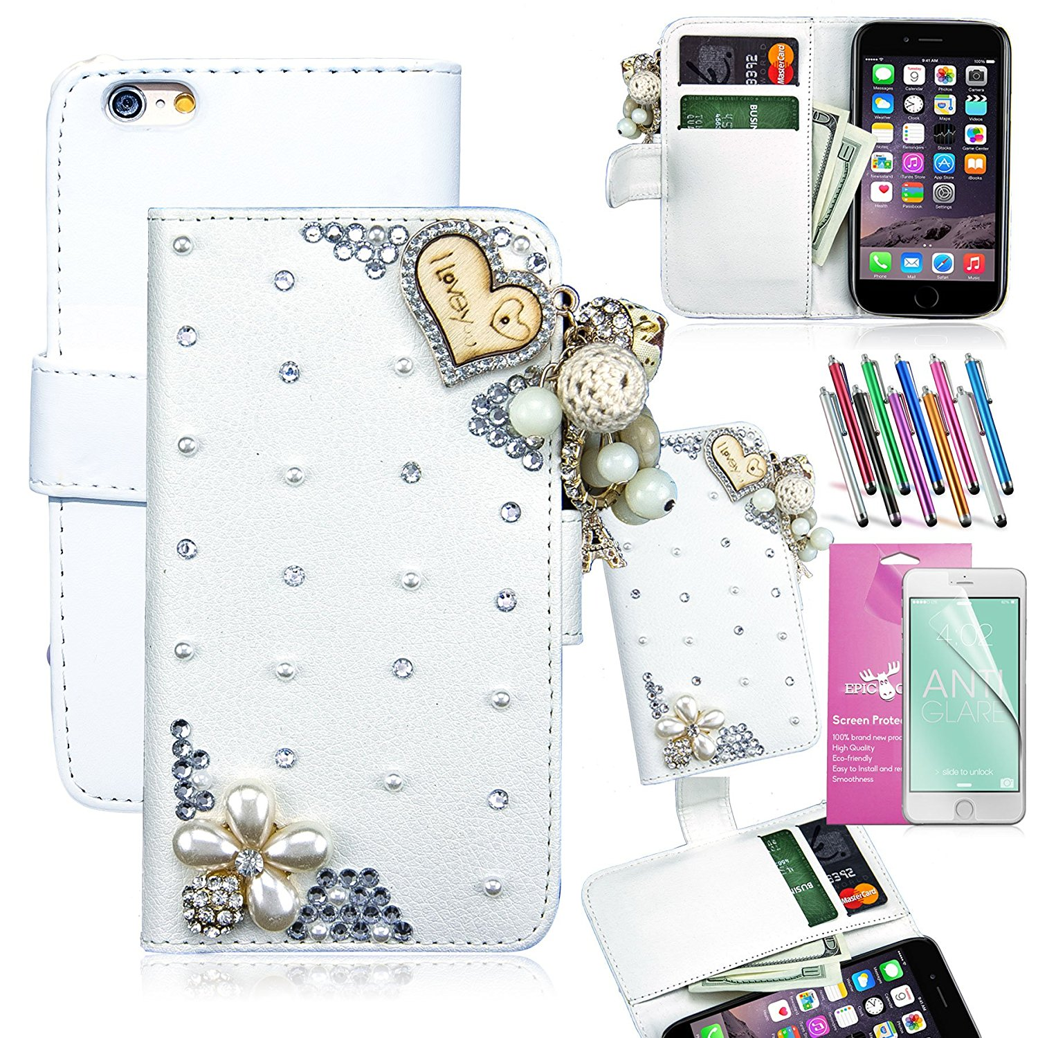 3D Apple iPhone 6 Plus [5.5] Wallet Case, EpicGadget(TM) Luxury Handmade Bling Bling White PU Leather Case With I Love You Tassel + 1 Screen Protector + 1 Stylus (I Love You White Leather Case)