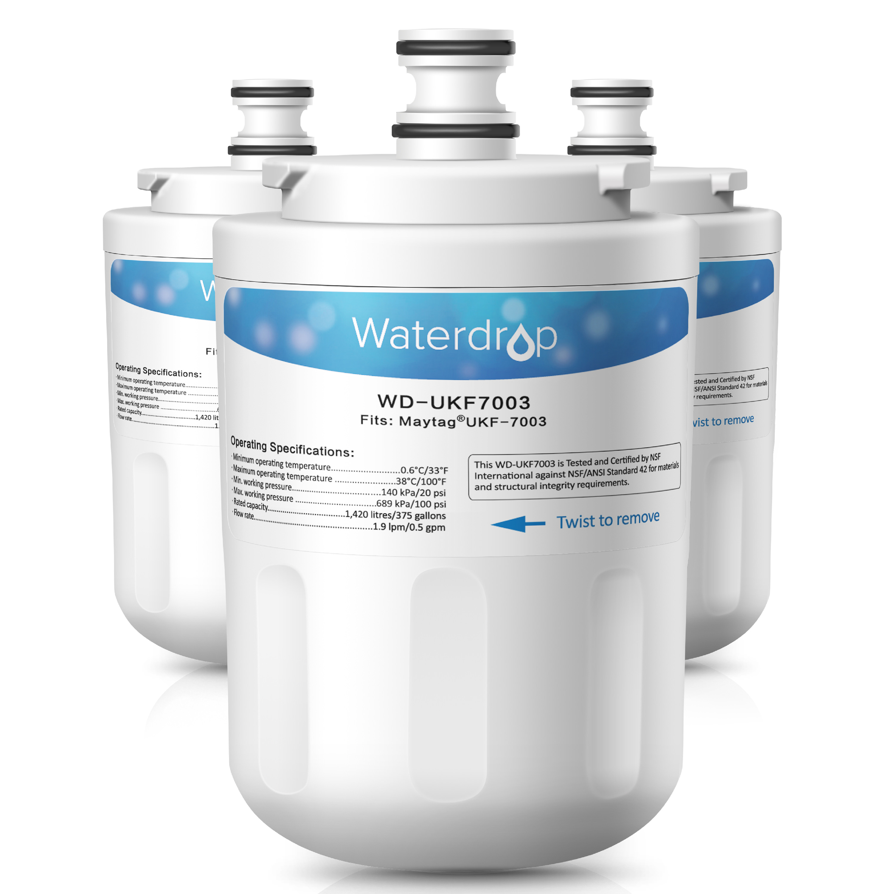 3 Pack Waterdrop UKF7003 Replacement for Maytag UKF7003, Whirlpool EDR7D1 Refrigerator Water Filter Replacement