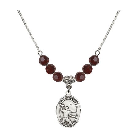 18-Inch Rhodium Plated Necklace with 6mm Red January Birth Month Stone Beads and Saint Sebastian / Football Charm (Football Bead Necklaces)