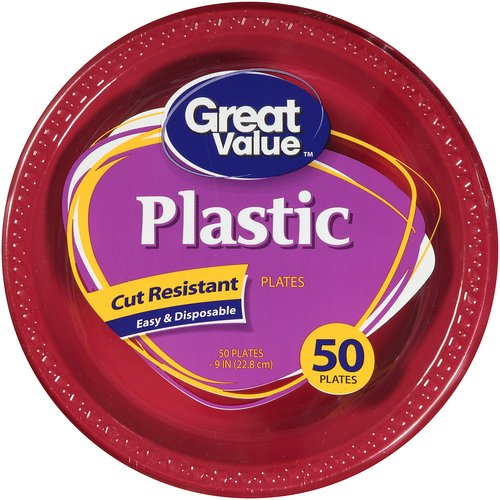 "Great Value Plastic Plates, Red, 9"", 50 Count"