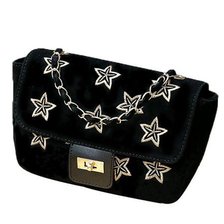 Shoulder Bag, Coofit Handbag Stylish Stars Cross Body Shoulder Bag Plush Tote Bag for Dating Shopping Business for Women Girls Ladies,Black