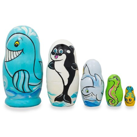 Set of 5 Dolphin, Whale, Seahorse Wooden Sea Animals Nesting Dolls 4.25 Inches