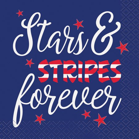 4th Of July Wedding Ideas (Stars & Stripes Forever 4th of July Paper Beverage Napkins, 5 in,)