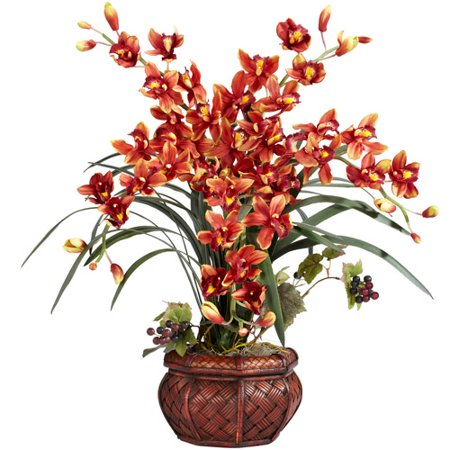Potted Cymbidium - Nearly Natural Cymbidium with Decorative Vase Silk Flower Arrangement, Burgundy
