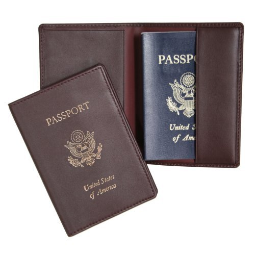 Royce Burgundy Leather Passport Holder & Travel Document Organizer NEW