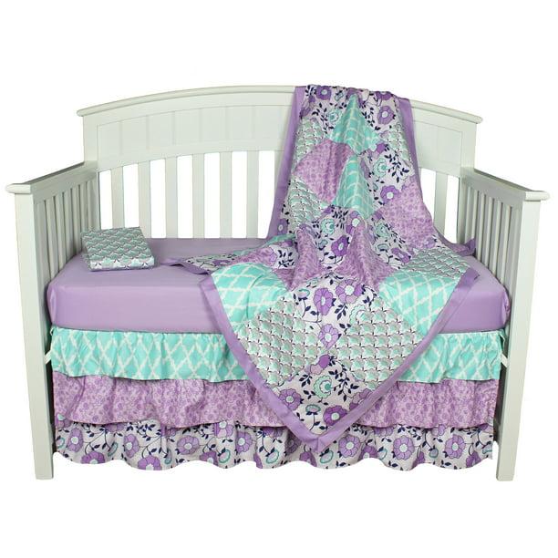 Purple And Aqua Baby Crib Bedding