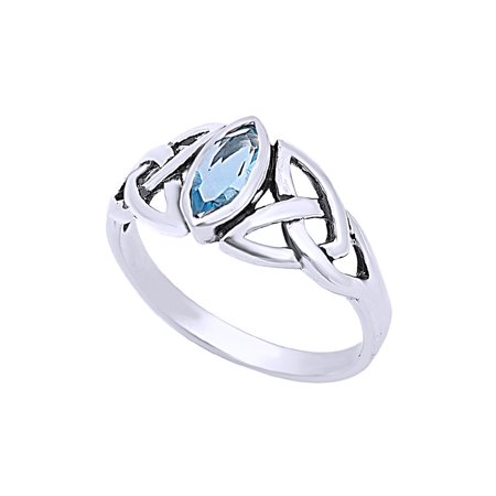 Simulated Aquamarine CZ Celtic Design Ring In 14K White Gold Over Sterling Silver