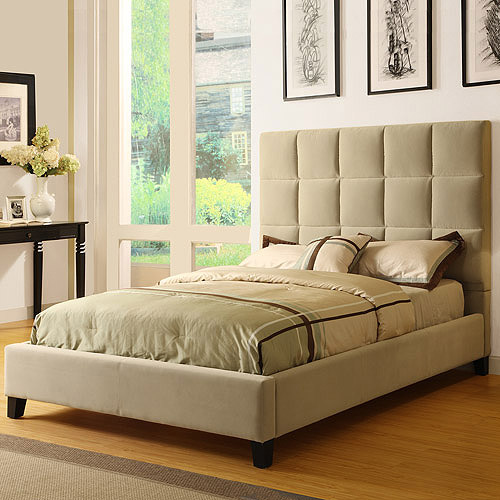 Curtis Queen Tufted Bed, Taupe Velvet