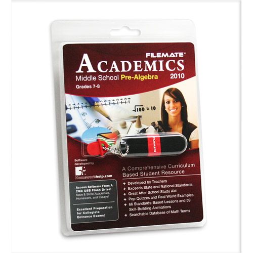 FileMate Academics Middle School Pre-Algebra 2010 2GB USB Drive Educational Software