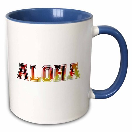 Rose Aloha Text Fiery Sunset With Palm Tree Leaf Shadows Orange Yellow Black Hawaii Hawaiian Word Two Tone Blue Mug 11 Ounce