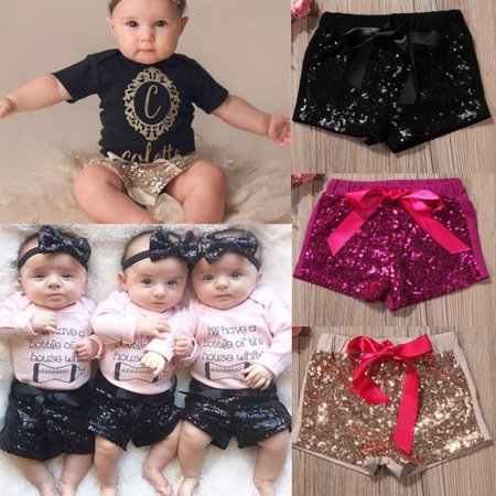 1-5T Infant Toddler Baby Kids Girl Bow Party Shorts Bottoms Sequin Pants Clothes