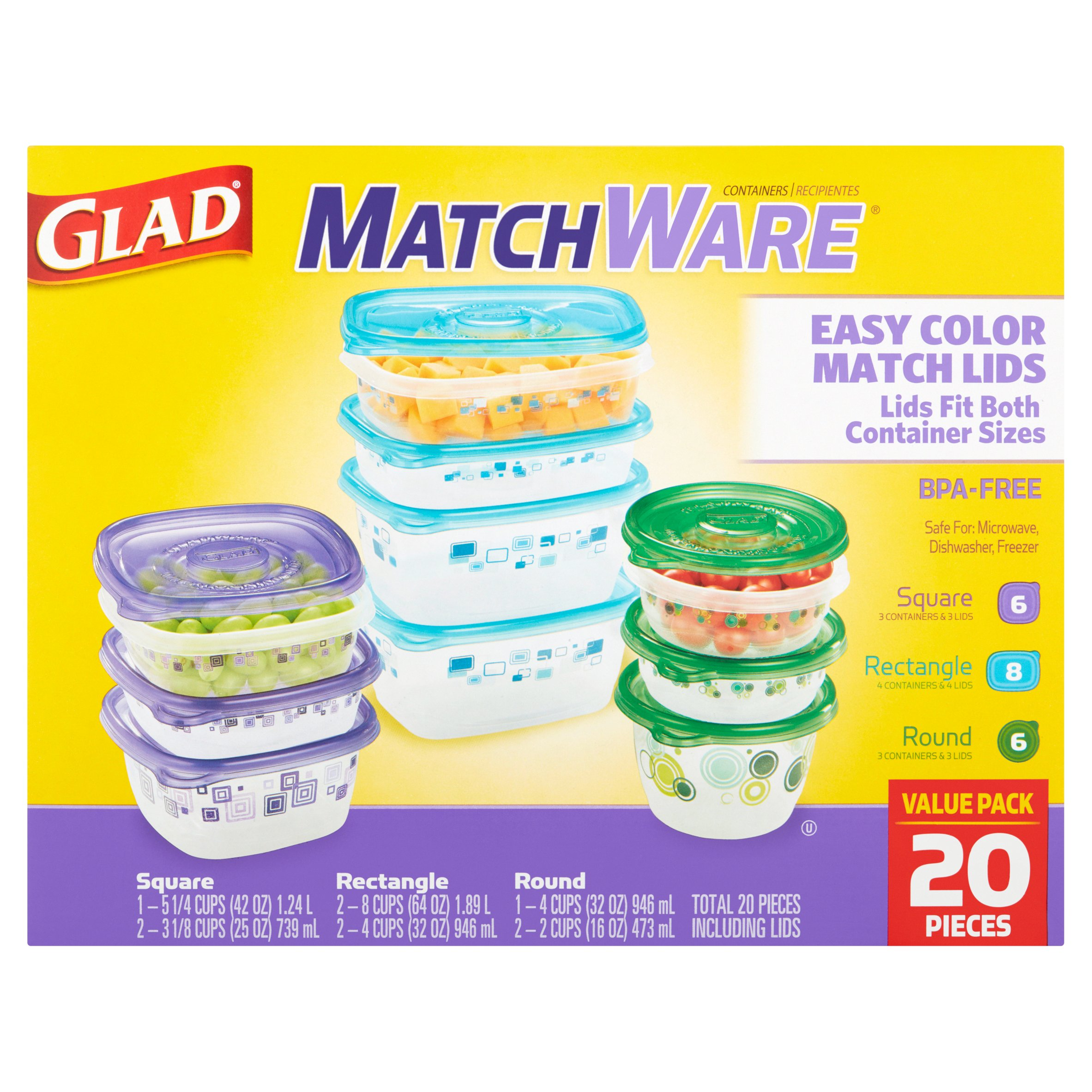 Glad MatchWare Containers Value Pack, 20 count