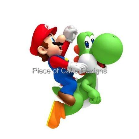 1/4 Sheet Mario Riding Yoshi Edible Frosting Cake - Mario Cake Topper