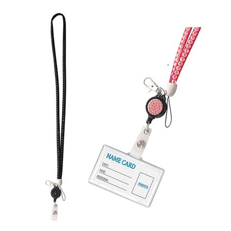 Black Colored Lanyard With Rhinestone Sequence and Retractable ID Reel