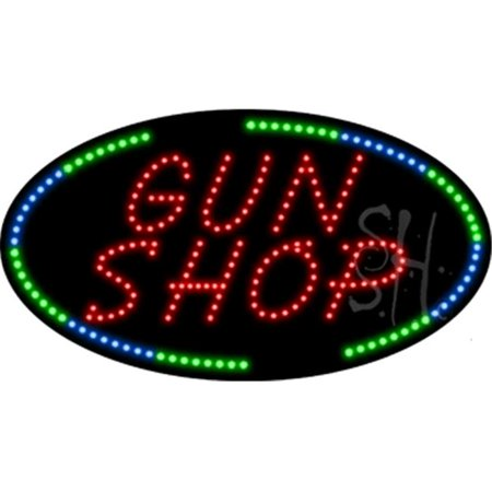 The Sign Store L100 8586 Gun Shop Animated Led Sign 15 T X 27 W X 1