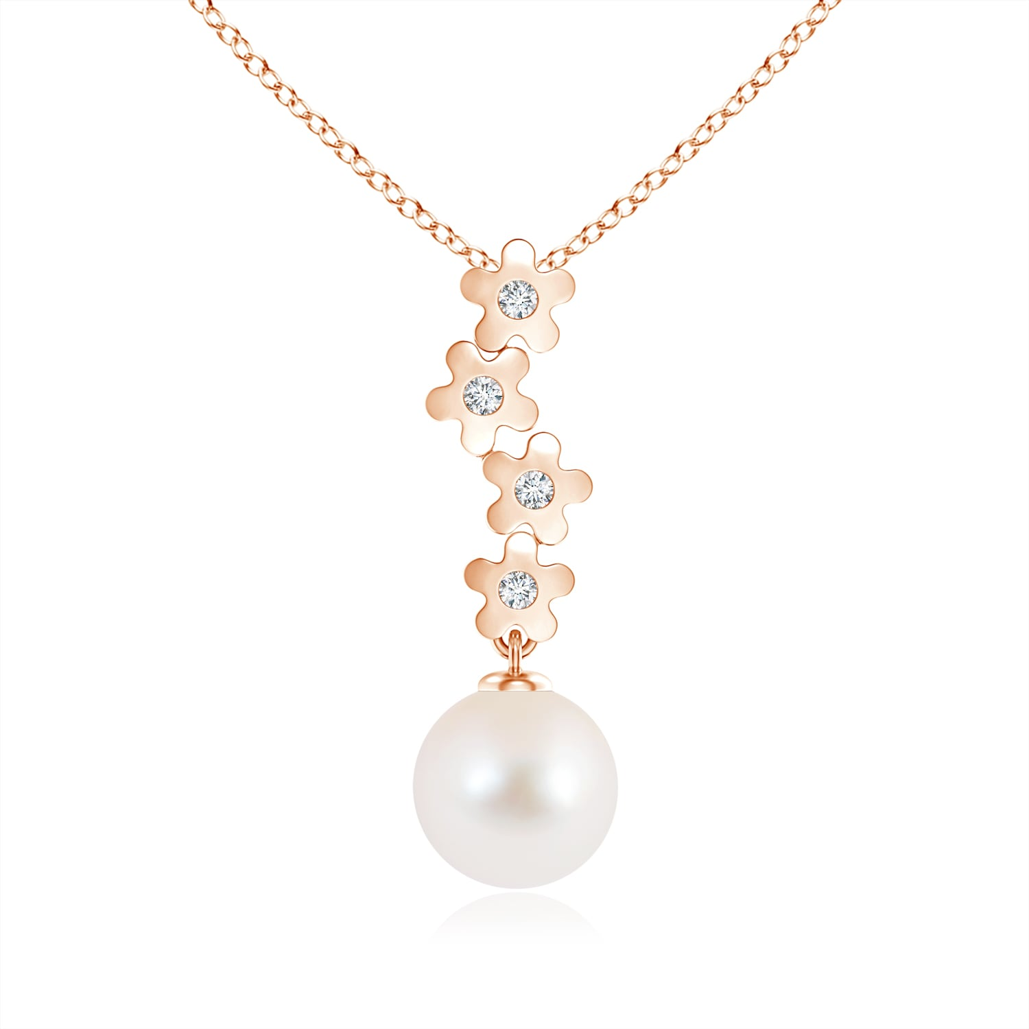 Angara Freshwater Cultured Pearl Pendant with Cascading Diamonds 00Jqne