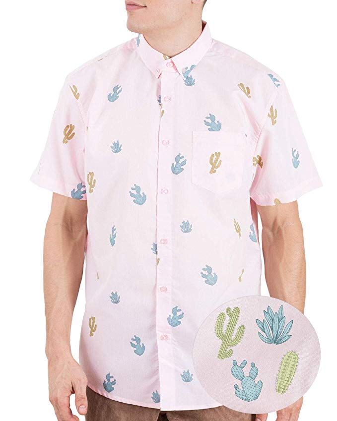 Hawaiian Shirt Mens Tiki Shirt Button Up Short-Sleeve Tiki Crab Shirt