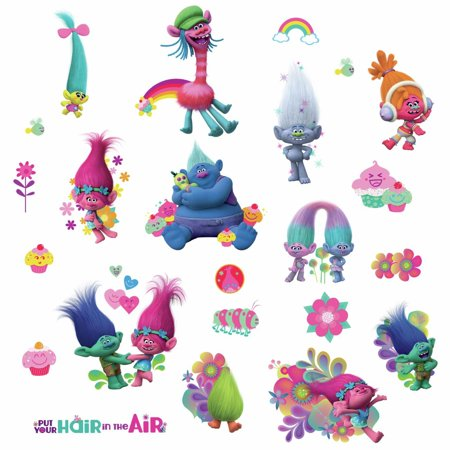 Trolls Movie Peel and Stick Wall Decals With Glitter Kids Room Fun Stickers