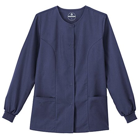 F3 Fundamentals By White Swan Women's Snap Front Warm Up Solid Scrub Jacket XX-Large Navy