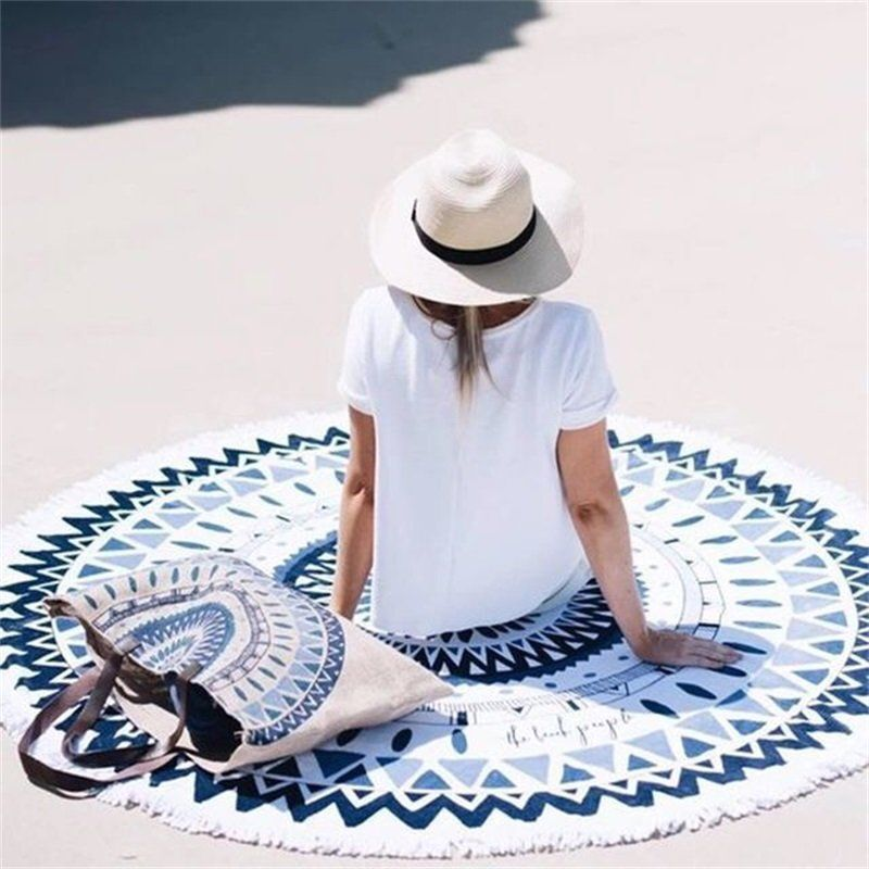 Bohemian Mandala Round Beach Blanket with Woven Yarn Blanket for picnic, Tapestry Hippie... by