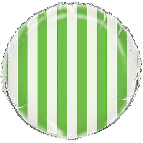 "18"" Foil Lime Green Stripes Balloon"