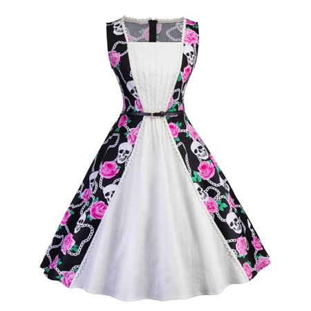 Women Vintage Swing 50S 60S Rockabilly Dress Summer Sleeveless Floral Skull Print Cocktail Evening Party Prom Ball Gowns](Candy Skull Dress Up)