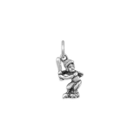 Girl Softball Player Sterling Silver Charm, Made in the USA (Softball Charms)