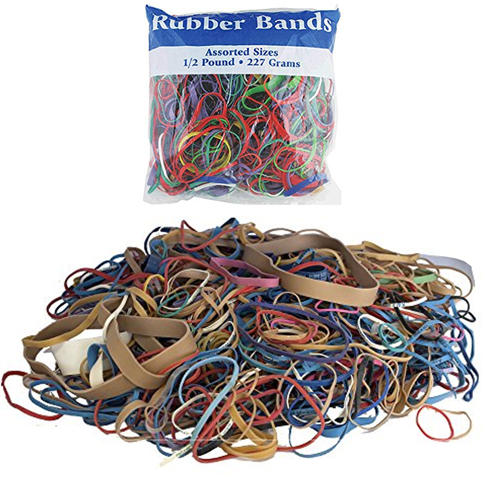 24 Packs Bazic Rubber Bands Assorted 1/2 Half Pound 227g Multi Color Sizes Craft