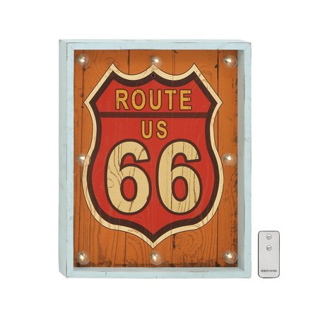 Elegant Style Route Us 66 Wood Led Wall Art Remote Home