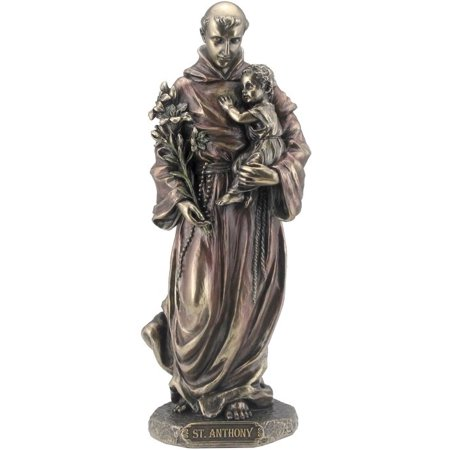 8.13 Inch St. Anthony Holding Baby Jesus Statue Figurine, Bronze Color (Jesus Holding Baby)