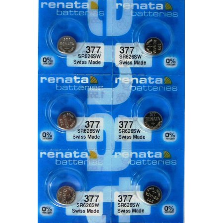 6 Renata Silver Oxide Watch Batteries For Renata 377 Button Cell ()