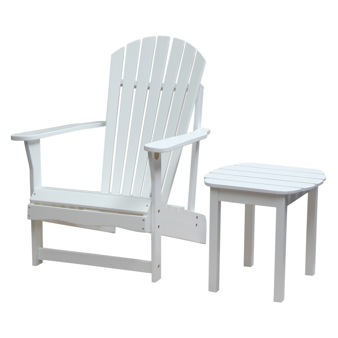 Adirondack Chair and Side Table in White