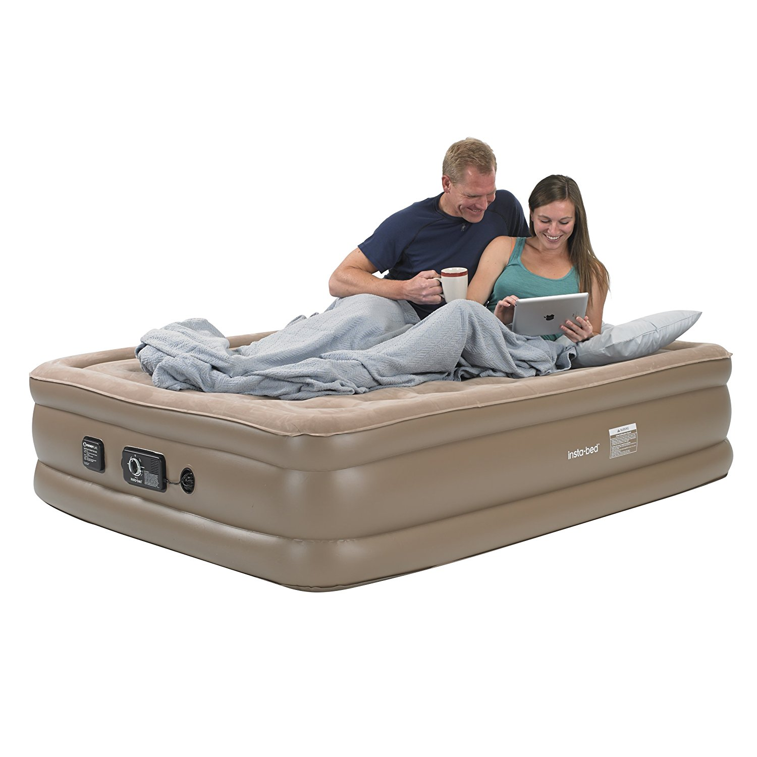 insta-bed Raised Queen Air Mattress with Never Flat Pump ...