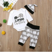 Newborn Baby Boy Little Brother Tops Romper Elephant Pants Hat Outfit Clothes
