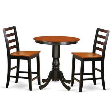 Finished Kitchen (Counter Height Pub Table & 2 Kitchen Bar Stool, Black Finish)