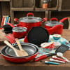 The Pioneer Woman Vintage Speckle 24-Piece Cookware Combo Set, Red
