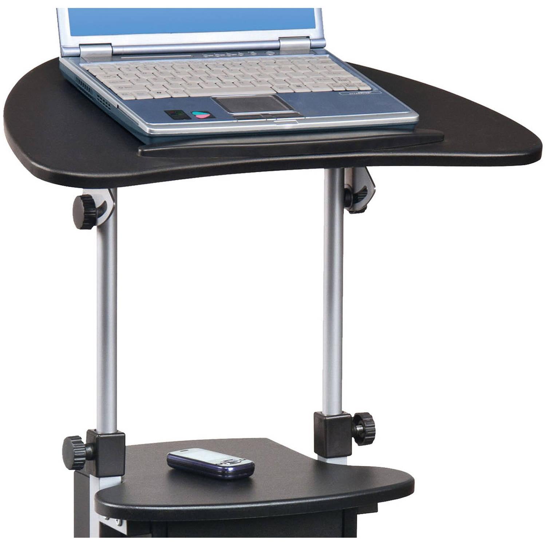 Techni Mobili Rolling, Swivel And Adjustable Laptop Cart With Storage,  Black   Walmart.com