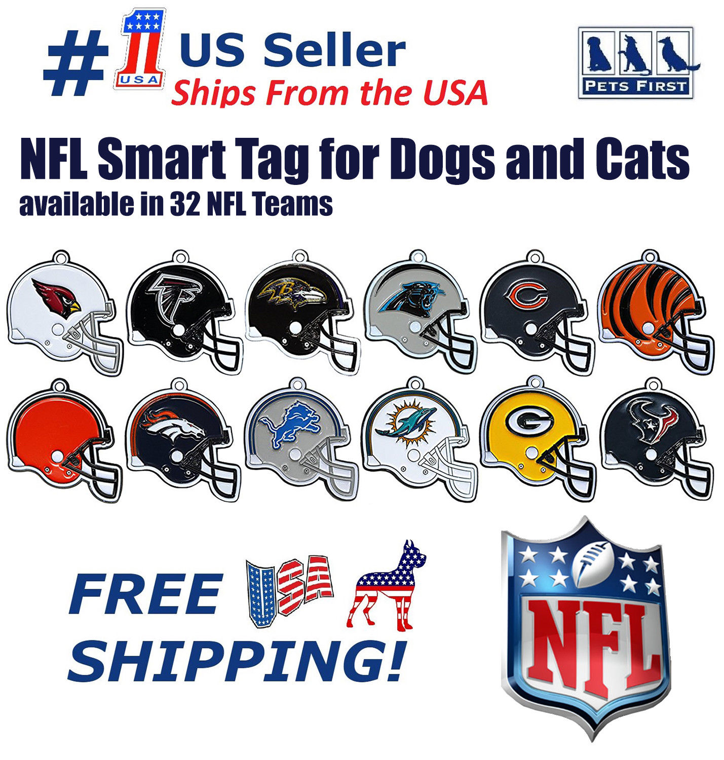 Carolina Panthers Pet Id Tag for Dogs /& Cats Personalized w// Name /& Number