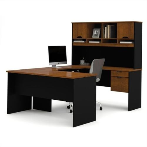 Bestar Innova U Shape Desk in Tuscany Brown and Black