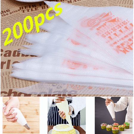 Peralng 200Pcs Thick Icing Piping Decorator Bags, Plastic Disposable Disposable Icing Pastry Bags for Cream Cake Lcing Sugarcraft Cupcake Baking, DIY Cake Decoration Supplies - Classic Cake Decorations