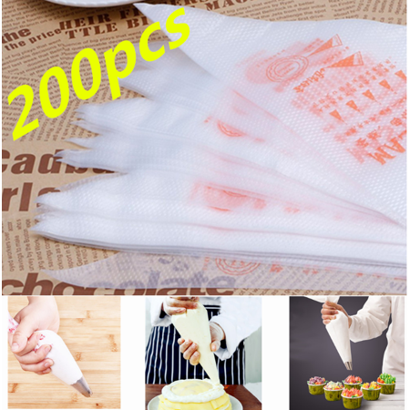 Peralng 200Pcs Thick Icing Piping Decorator Bags, Plastic Disposable Disposable Icing Pastry Bags for Cream Cake Lcing Sugarcraft Cupcake Baking, DIY Cake Decoration Supplies](Minecraft Cake Supplies)