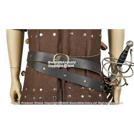 Double Wrap Brown Leather Sword Belt with Frog for Medieval Viking Pirate Attire