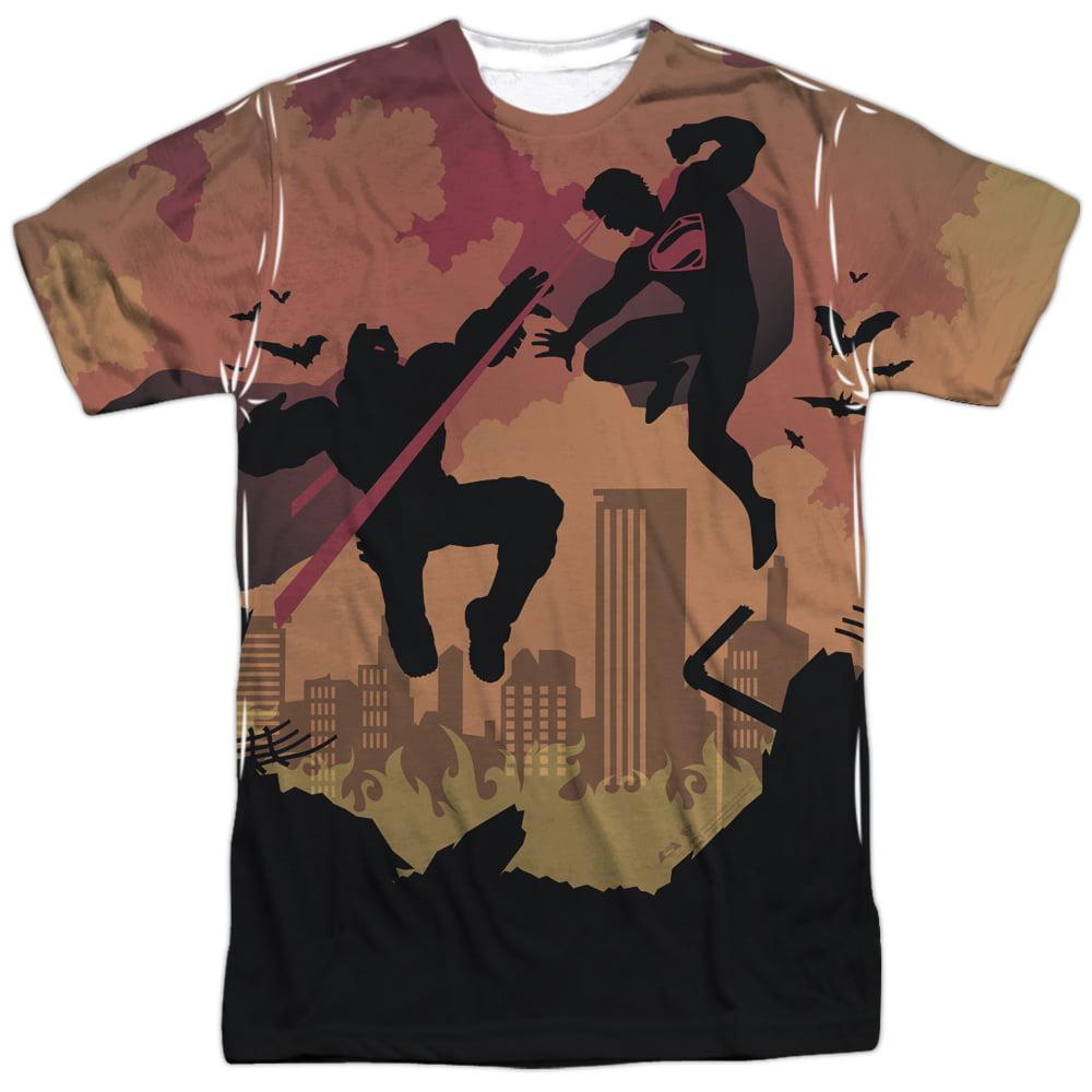 Batman Vs Superman Silhouette Fight Mens Sublimation Shirt