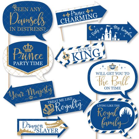 Funny Royal Prince Charming - Baby Shower or Birthday Party Photo Booth Props Kit - 10 Piece (Royal Prince Baby Shower Ideas)