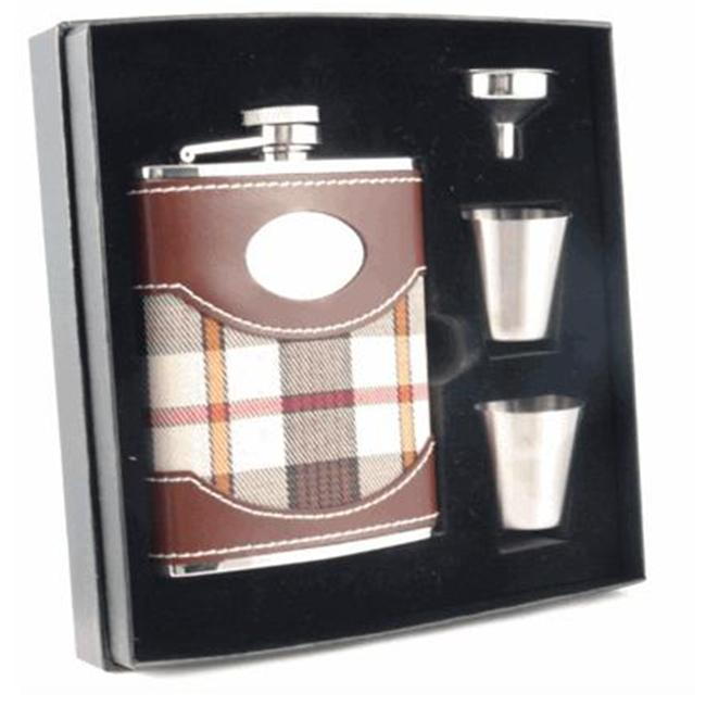 Visol VSET38-1119 Braw Plaid and Brown Leather 6oz Deluxe Flask Gift Set