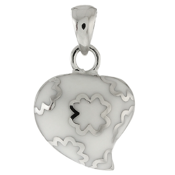 Beautiful White Color 3D Heart Shape Charm Puff Pendant