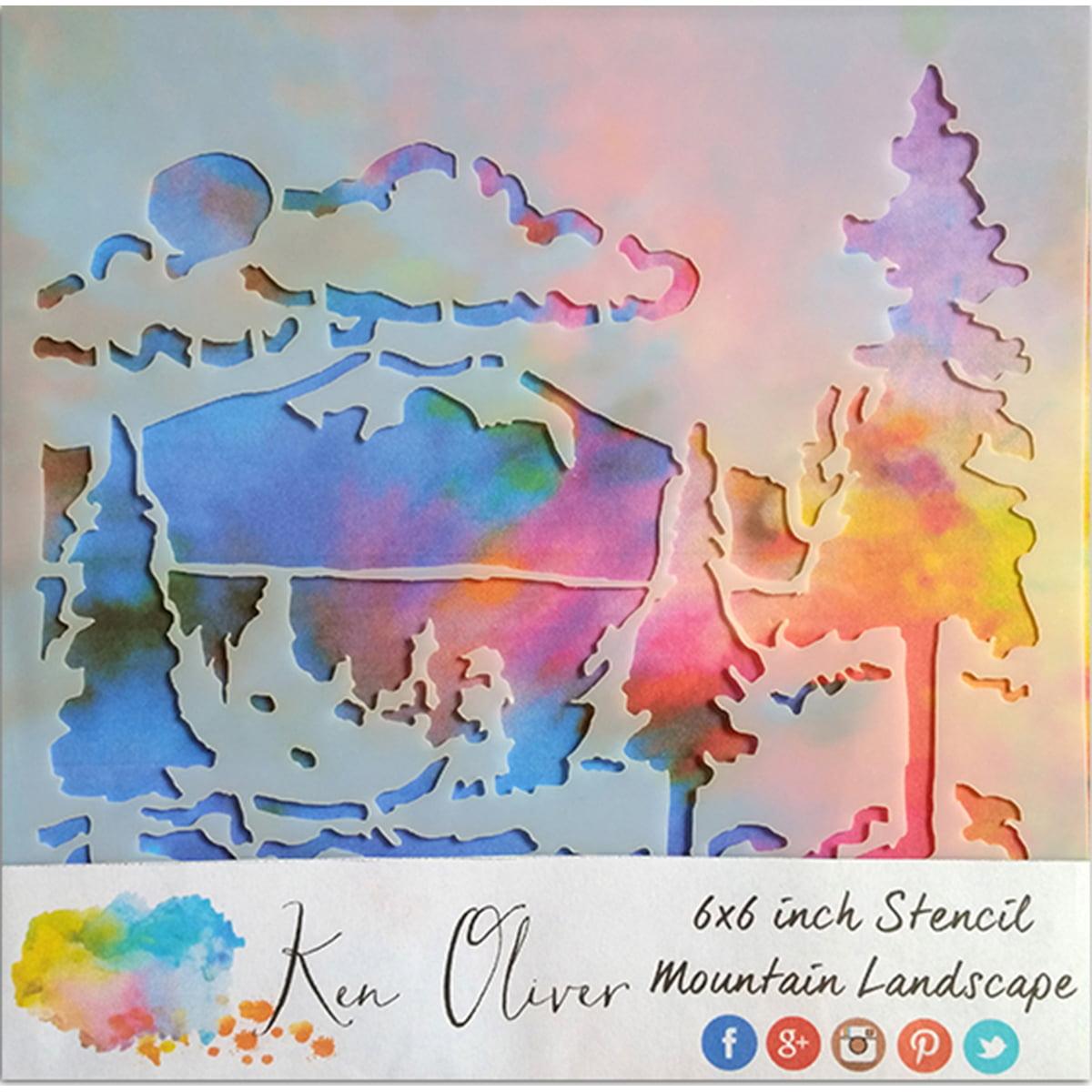 "Ken Oliver Stencil 6""X6""-Mountain Landscape"