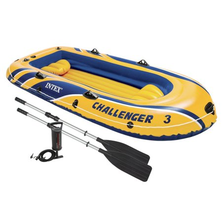 Intex Challenger 3 Inflatable Raft Boat Set With Pump And Oars | (3 Piece Bolt)