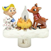 """Roman 49111 - 4.5"""" Rudolph, Hermey the Dentist, and The Spotted Elephant Christmas Campfire Flickering Night Light (165108)"""